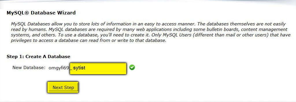 Creating a MySQL Database in cPanel